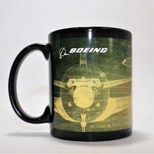 BOEING Coffee Mug Black White Text Yellow Graphics
